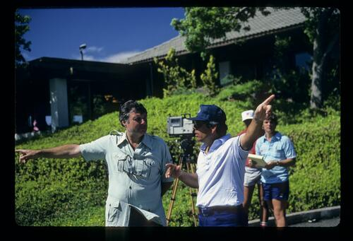 Lee Trevino talking with Peter Alliss during the 1984 Kapalua International
