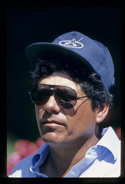 Lee Trevino looking thoughtful during the 1984 Kapalua International