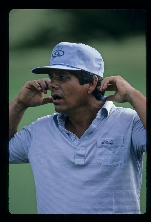 Lee Trevino showing an emotion during the 1984 Kapalua International