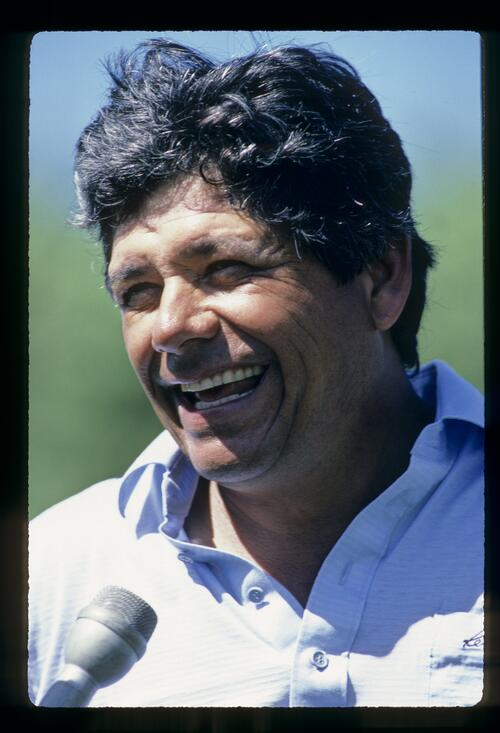 Lee Trevino laughing during an interview at the 1984 Kapalua Invitational