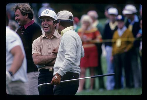 Lee Trevino's clowning around gives Gary Player and Ray Floyd a laugh during the 1982 US Open