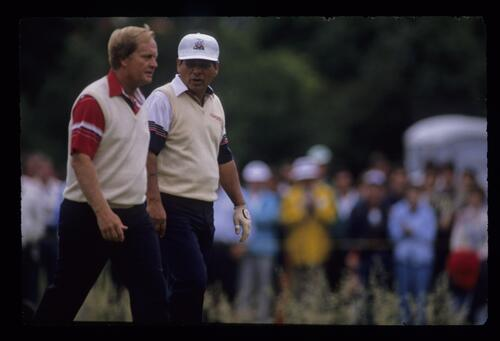 Jack Nicklaus and Lee Trevino during the 1989 US Open