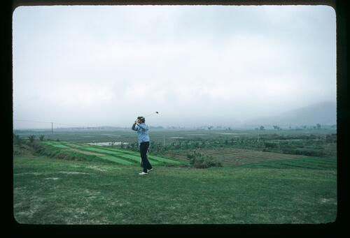 A golfer playing from the fairway of the new Chung Shan Hot Spring Golf Club