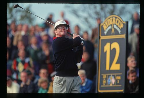 America's Tom Kite tees off on the 12th hole of The Belfry at the 1993 Ryder Cup