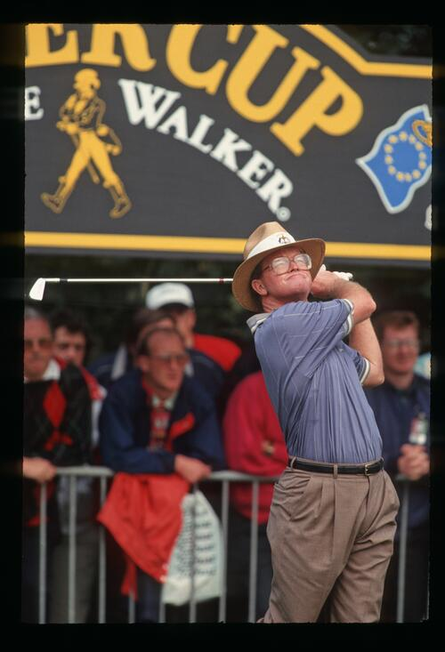 American golfer Tom Kite strikes a familiar follow-through from the tee at The Belfry during the 1993 Ryder Cup