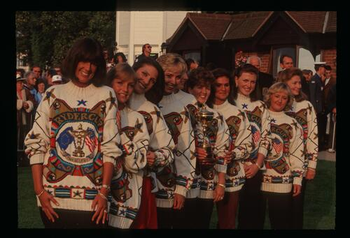 The 1993 European team wives pictured with the Ryder Cup at The Belfry