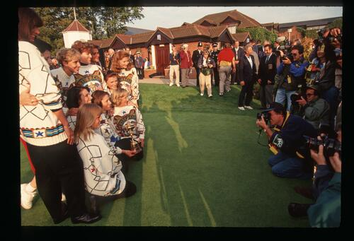 The wives of the 1993 Europen Ryder Cup team pose for the press at The Belfry