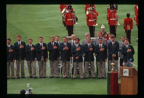 The 1993 United States Ryder Cup team stand during the playing of the American Anthem at The Belfry