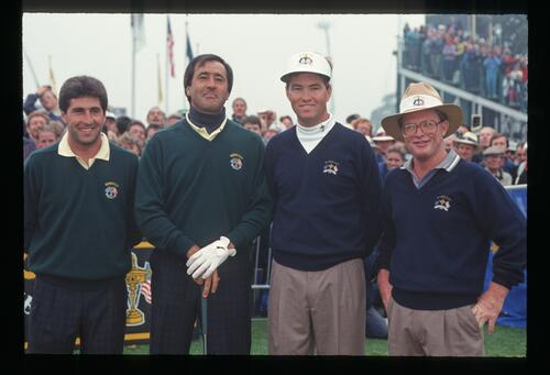 Europeans Jose Maria Olazabal and Seve Ballesteros on the tee with American opponents Davis Love III and Tom Kite on Day 1 of the 1993 Ryder Cup