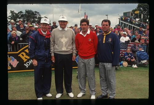 On the 1st tee are Americans Tom Watson and Ray Floyd with Europeans Jose Maria Olazabal and Bernrad Gallacher