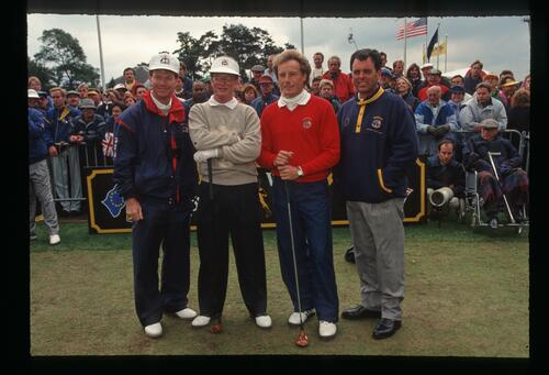 Opposing players and captains Tom Watson, Tom Kite, Bernhard Langer and Bernard Gallacher on the 1st tee at The Belfry for the 1993 Ryder Cup