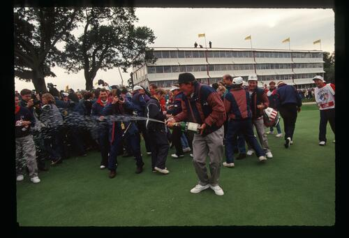 Champagne all around as the United States claims victory at the 1993 Ryder Cup at The Belfry