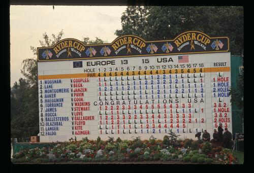 The final day scoreboard at the 1993 Ryder Cup showing a 15 to 13 United States victory