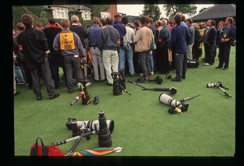 Cameras strewn across the ground as the press gather at the 1993 Ryder Cup