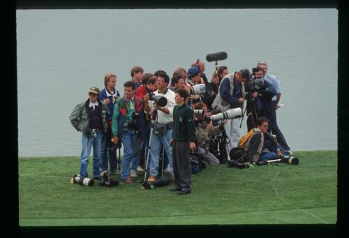 A group of press photographers wait by the green to catch the action at the 1993 Ryder Cup
