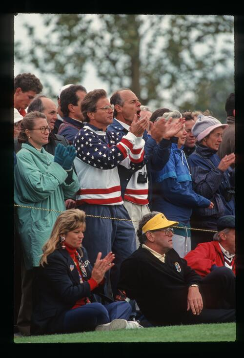 American fans cheer on the 1993 Ryder Cup team at The Belfry