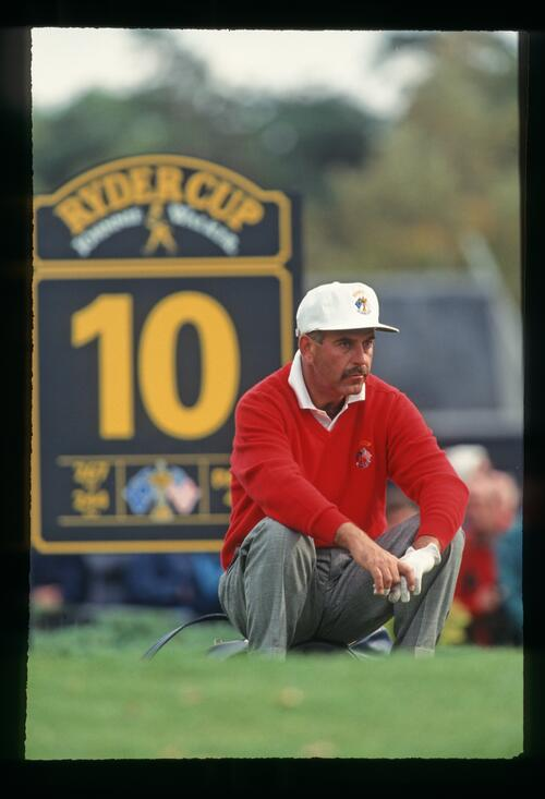 Europe's Mark James waits patiently on the 10th tee at the 1993 Ryder Cup