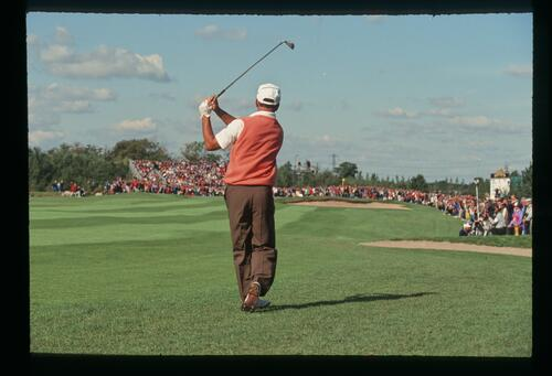 Europe's Mark James plays his approach from the semi-rough at the 1993 Ryder Cup