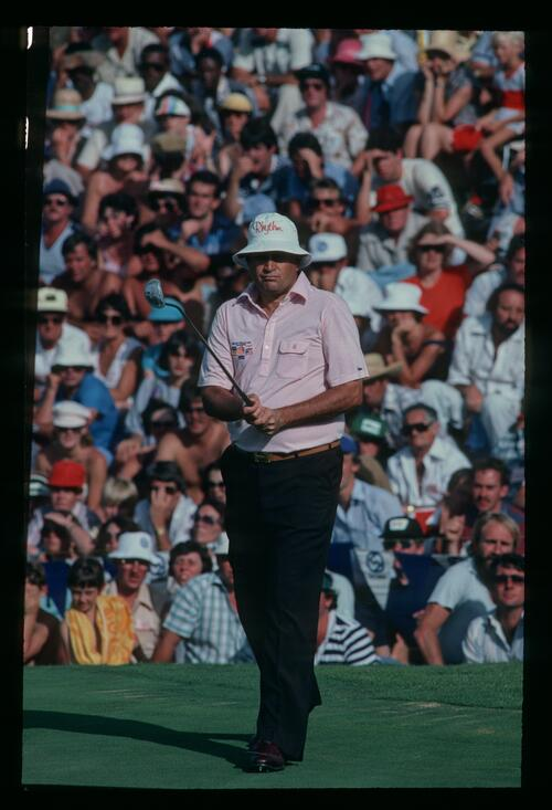 American golfer Ray Floyd on the green at the 1982 Million Dollar Challenge at Sun City