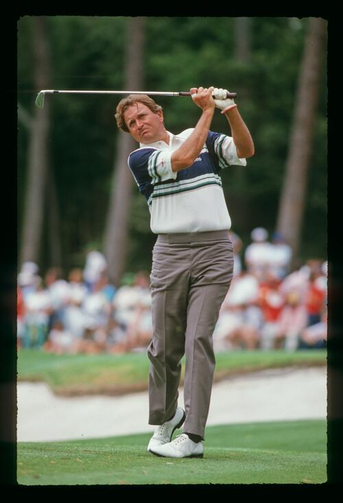 Ray Floyd plays his approach shot to the green at the 1988 Masters Championship