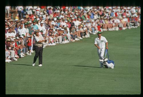 Ray Floyd follows his approach shot at the 1993 Masters Championship