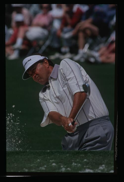 Rya Floyd plays his shot out of the bunker at the 1992 Masters Championship