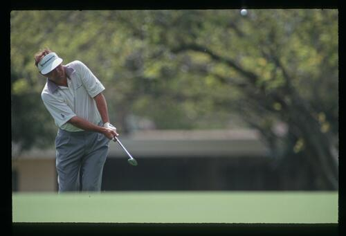 Golfer Ray Floyd chips from the greenside fringe at the 1992 Nestle Invitational at Bay Hill