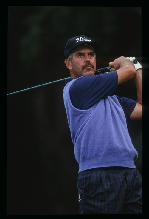Mark James on the tee at the 1992 European Open Championship at Sunningdale
