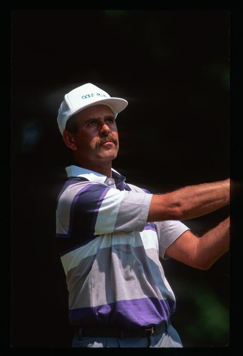 Mark James on the tee at the 1990 Volvo PGA Championship at Wentworth