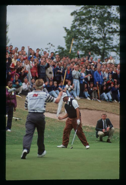 Mark James gives a fist pump after winning the 1990 English Open Championship