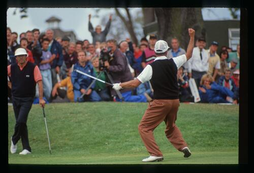 Mark James celebrates with the crowd after claiming his victory at the 1990 English Open Championship