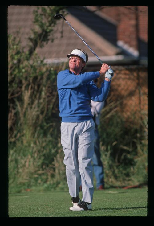 American golfer Tom Kite on the tee at the 1988 Open Championship at Royal Lytham and St Annes