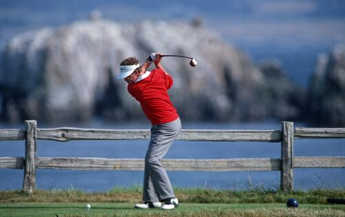 Tom Kite tees off on the 18th hole on his way to victory in the 1992 United States Open Championship at Pebble Beach