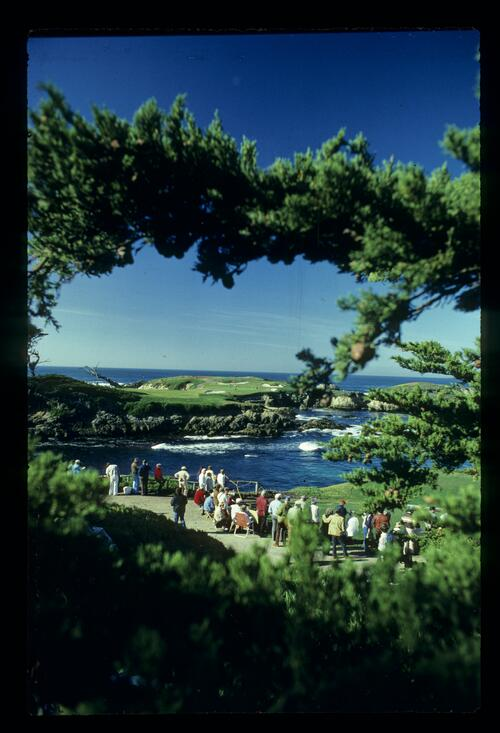 The iconic 16th hole at Cypress Point, California