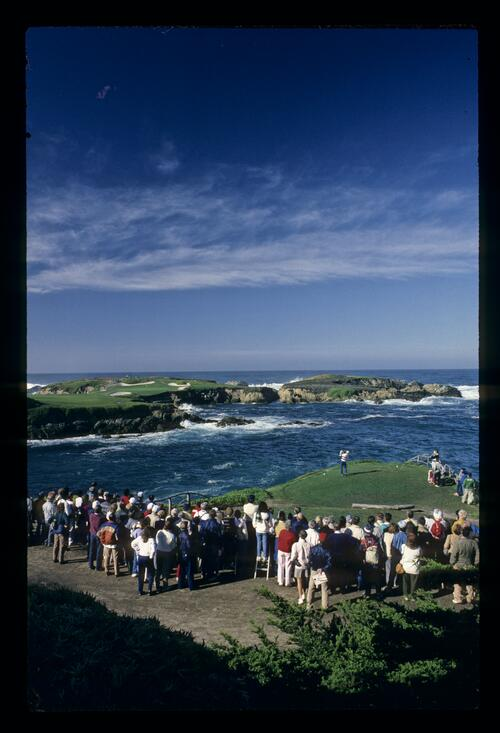 The iconic 16th hole at Cypress Point where golfers hit over the Pacific Ocean (not all of it)