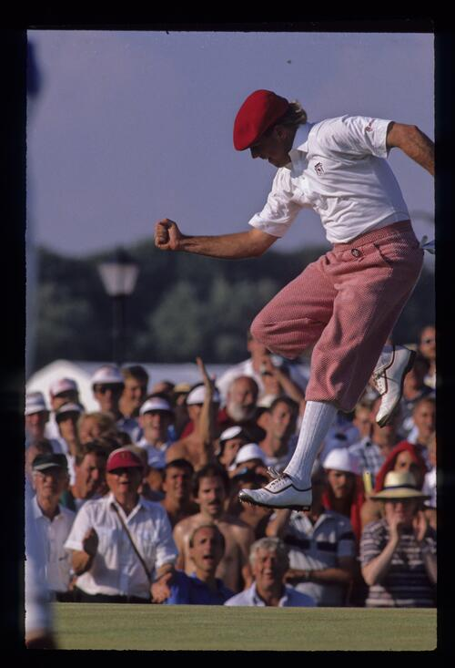 Payne Stewart gets airborne as he celebrates a putt on his way to eighth place at the 1989 Open Championship