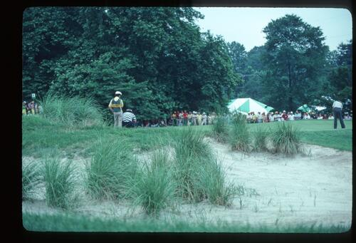 A sand-waste, greenside bunker gives the character of Merion during the 1981 US Open