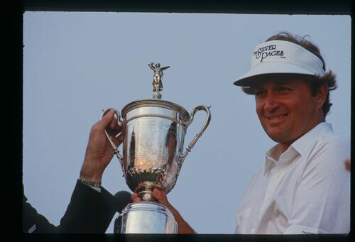 The 1986 United States Open Champion Ray Floyd accepts the winner's trophy at Shinnecock Hills