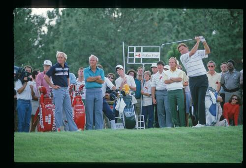 Golfer Ray Floyd on the tee with Greg Norman, Arnold Palmer and Jack Nicklaus at the 1986 Shark Shootout at Grand Cypress