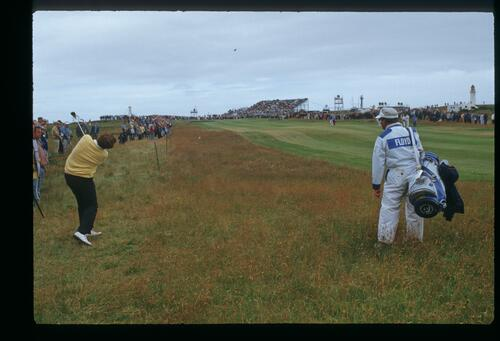 American Ray Floyd plays from the rough at the 1986 Open Championship at Turnberry