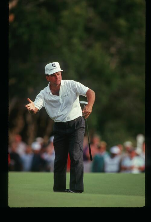 American Mark McCumber wills his putt to drop at the 1988 Australian Open Championship