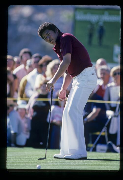 Tateo Ozaki rolls his putt at the 1982 Bob Hope Desert Classic