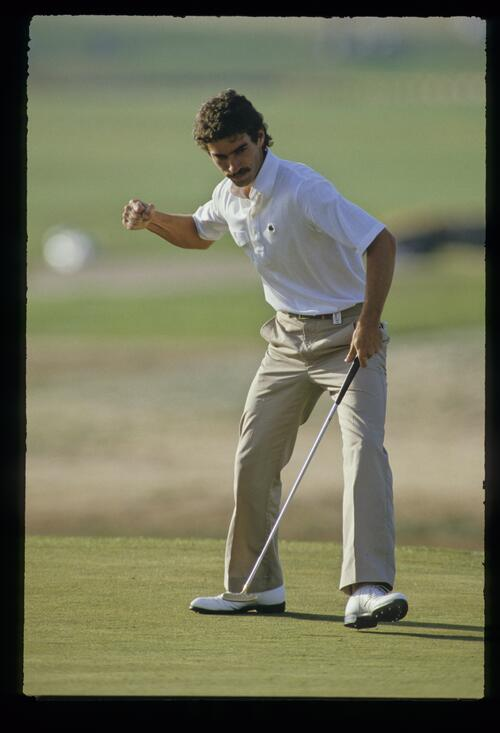 Corey Pavin gives the fist pump as he holes is putt at the 1987 Phoenix Open Championship