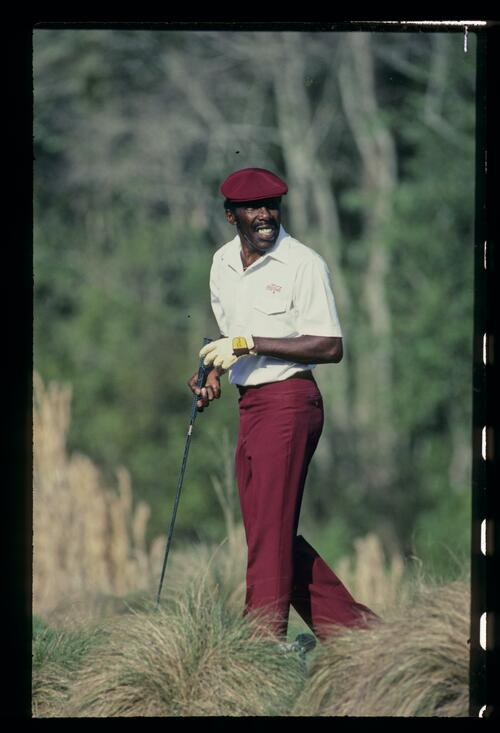 Golfer Calvin Peete on the tee at Sawgrass on his way to victory at the 1985 Players Championship