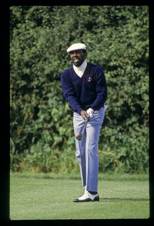 American Calvin Peete on the tee at the 1985 Ryder Cup on The Belfry