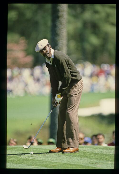 Calvin Peete on the tee at the 1985 Masters Championship