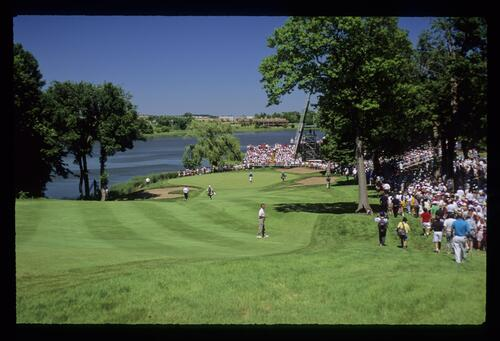 The demanding 10th green during the 1991 US Open