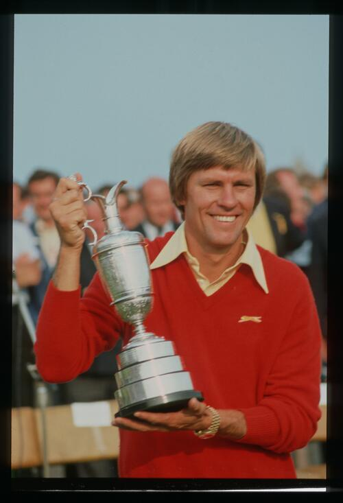 Bill Rogers smiling with the Claret Jug after winning the 1981 Open Championship