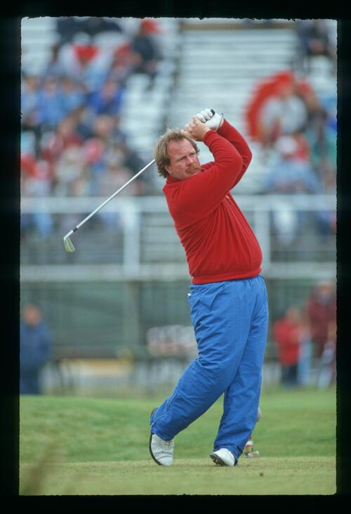 Craig Stadler hands high on the tee during the 1987 Open Championship