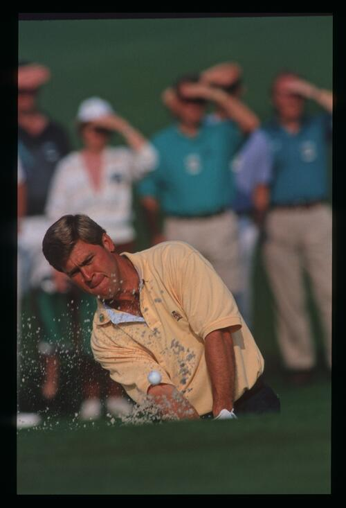 Hal Sutton safely gets out of the bunker at the 1992 Masters